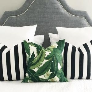2 pack black white bold stripe pillow covers 18""